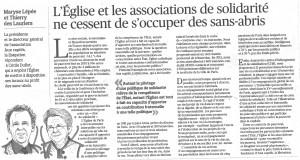 Associations de solidarité pour sans-abris - Tribune Le Figaro