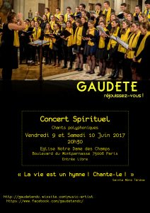 Concert de la chorale Gaudete