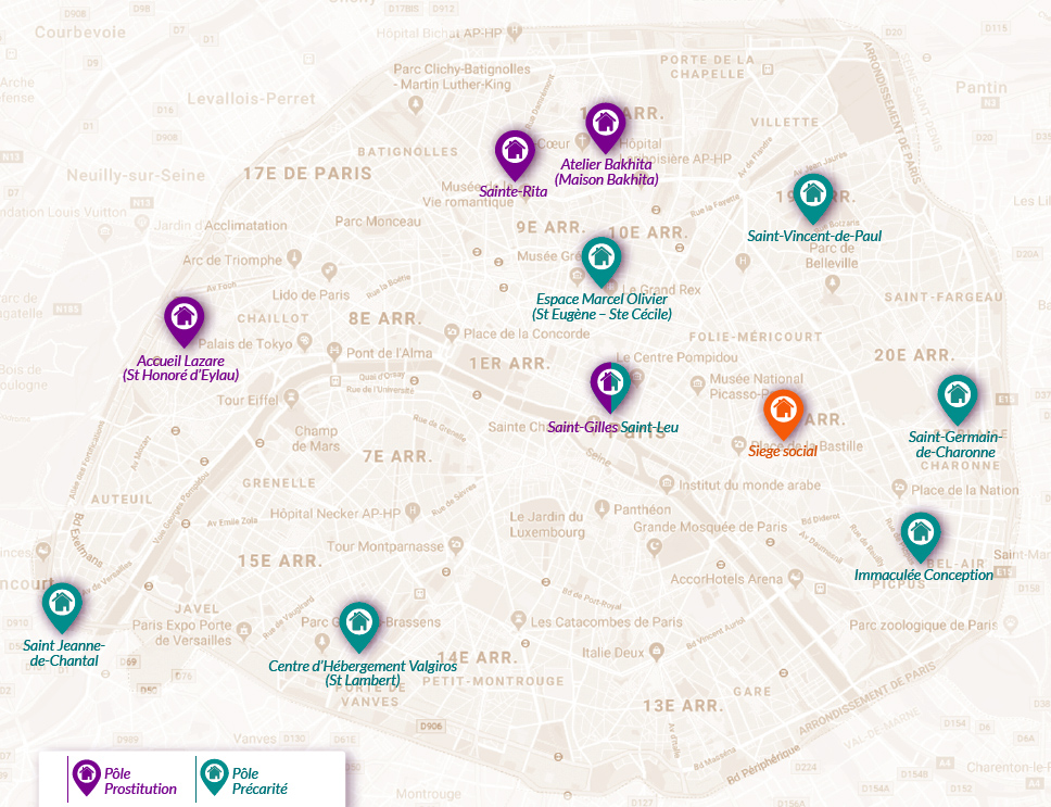 Carte des implantations Captifs à Paris